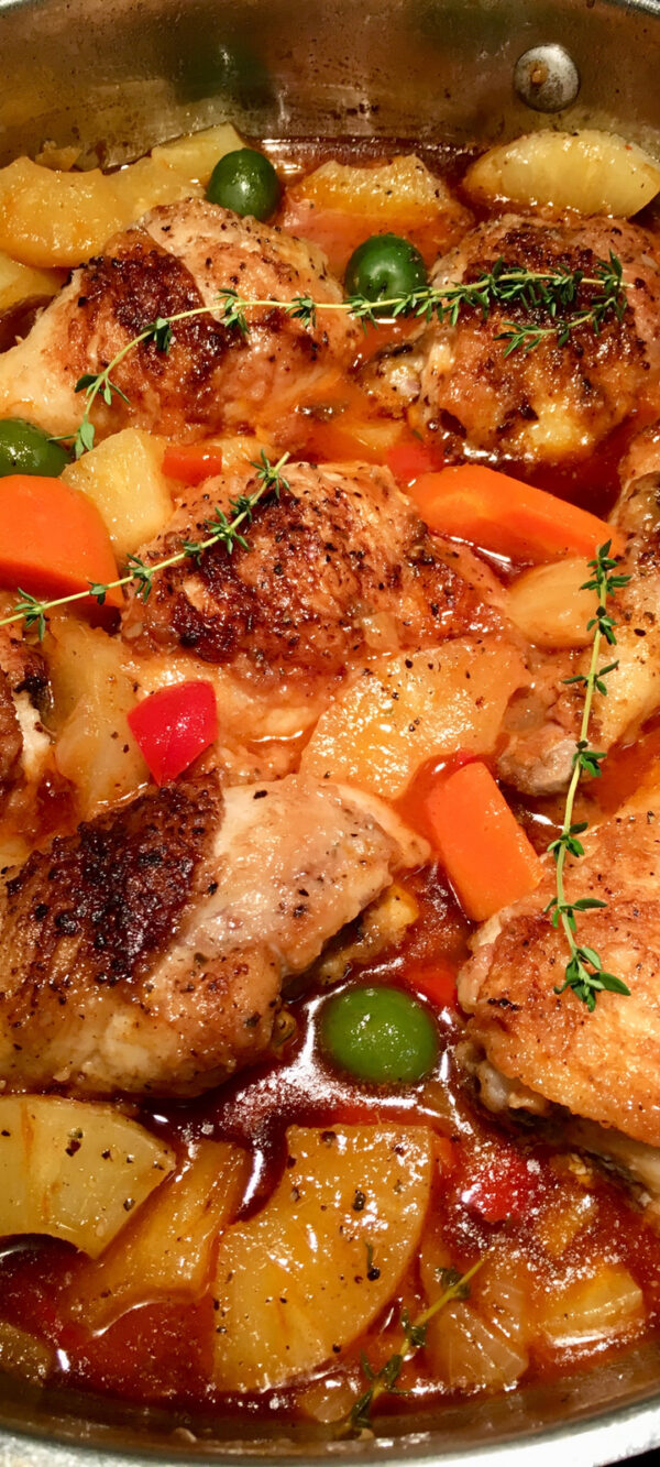 Chicken Stew with Olives and Pineapple